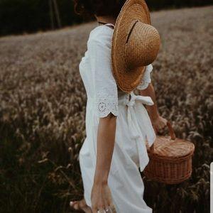 {zara} embroidered scalloped midi dress